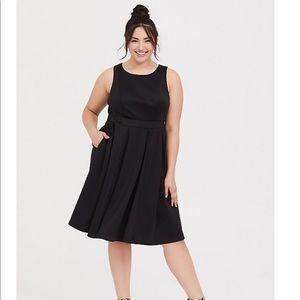 Torrid Black Scuba Knit Skater Dress 0X